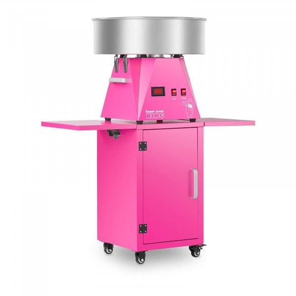 Máquina de algodón de azúcar con carrito - 52 cm - rosa/rosa