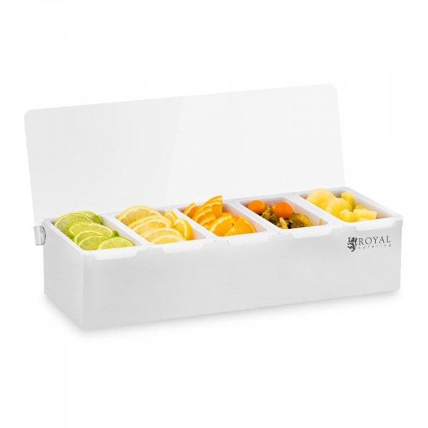 Caja para condimentos - Acero inoxidable/PP - 5 x 450 ml