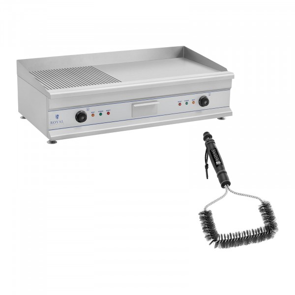 Set de plancha eléctrica fry-top doble con cepillo para parrilla - 100 cm - ondulado/liso - 2 x 3.200 W