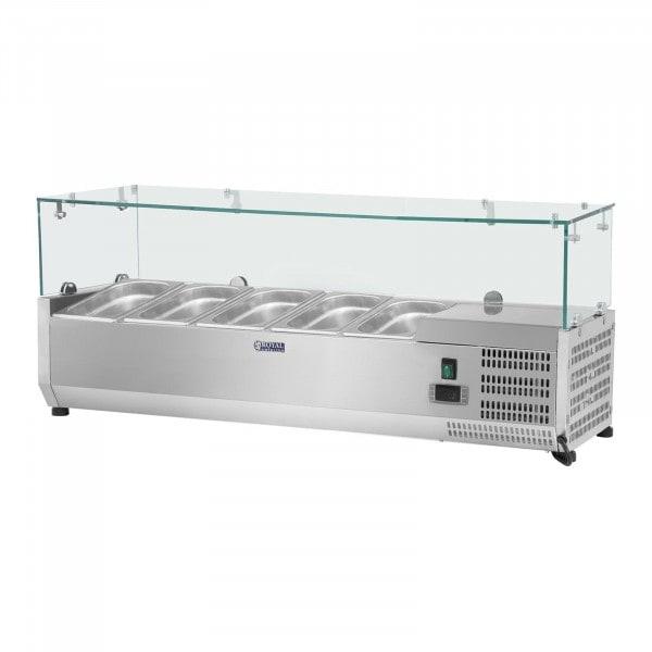 Vitrina refrigerada - 120 x 33 cm - 5 contenedores GN 1/4 - cubierta de cristal
