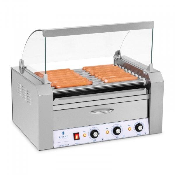 Asador de salchichas - 9 Rodillos - Cajón calentador - Acero Inox