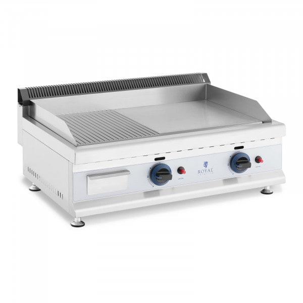 Plancha fry top doble de gas - 74,5 x 40 cm - lisa/ondulada - 2 x 3.100 W - propano/butano - 20 mbar