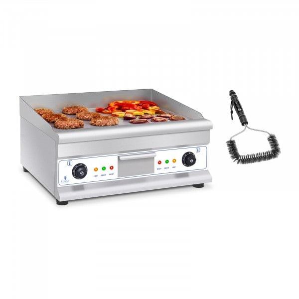Set de fry top eléctrico doble con cepillo para parrilla - 60 cm - liso - acero - 2 x 3.200 W