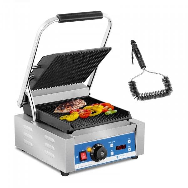 Set de grill de contacto con cepillo para parrilla - 1.800 W - ondulado - temporizador