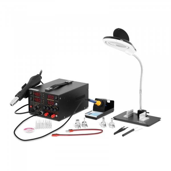 Set estación de soldadura con fuente de alimentación de laboratorio integrada + accesorios
