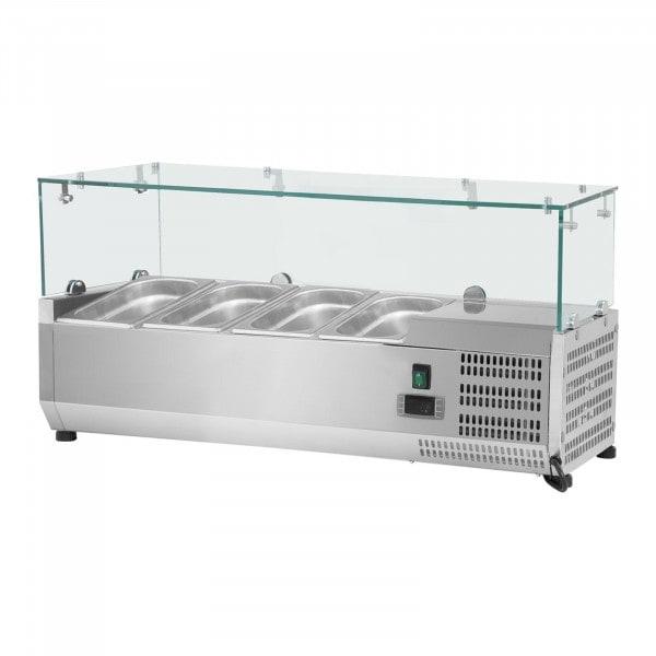 Vitrina refrigerada - 120 x 39 cm - 4 GN contenedores 1/3 - cubierta de cristal