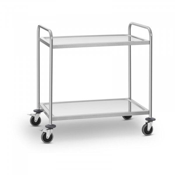 Carro de servicio en acero inoxidable - 2 estantes - hasta 120 kg
