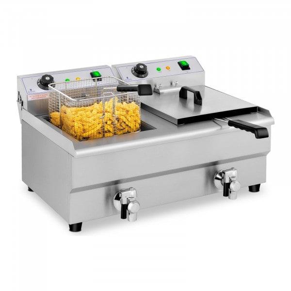 Freidora eléctrica - 2 x 13 litros - grifo de vaciado - 230 V