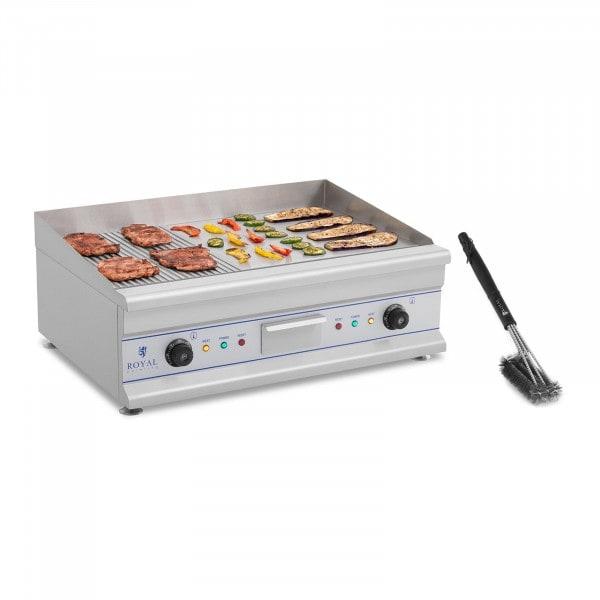 Set de plancha eléctrica fry-top doble con cepillo para parrilla de tres espirales - 75 cm - ondulado/liso - 2 x 3.200 W