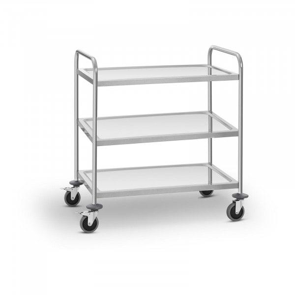 Carro de servicio en acero inoxidable - 3 estantes - hasta 150 kg