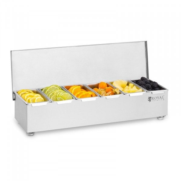 Caja para condimentos - Acero inoxidable - 6 x 450 ml