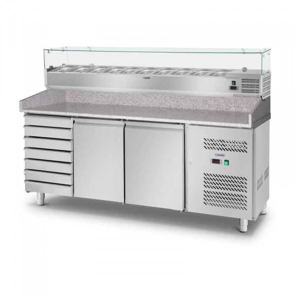 Mesa refrigerada de pizza con vitrina - 702 L - Encimera de granito - 2 puertas