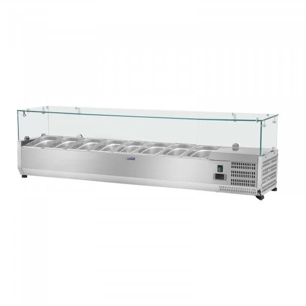Vitrina refrigerada - 180 x 39 cm - 8 contenedores GN 1/3 - cubierta de cristal