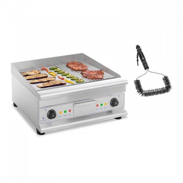 Set de fry top eléctrico doble con cepillo para parrilla - 60 cm - liso/ondulado - acero - 2 x 3.200 W