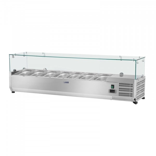 Vitrina refrigerada - 160 x 33 cm - 8 contenedores GN 1/4 - cubierta de cristal