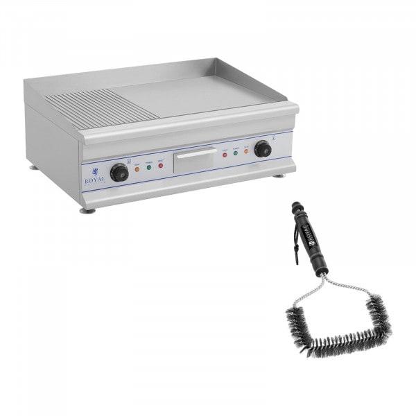 Set de plancha eléctrica fry-top doble con cepillo para parrilla - 75 cm - ondulado/liso - 2 x 3.200 W