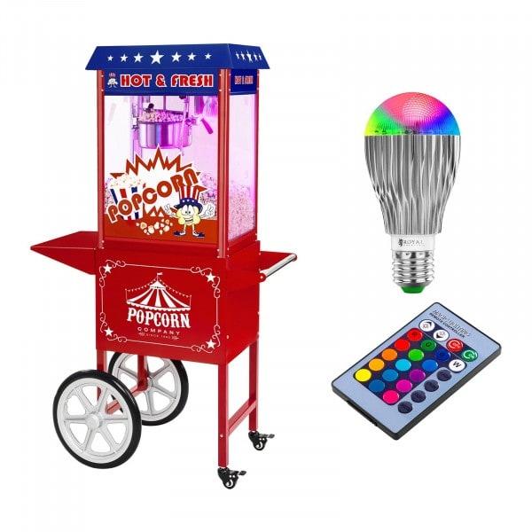 Palomitera con carrito e iluminación LED - diseño americano - rojo