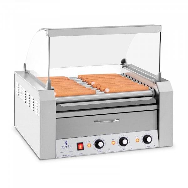 Asador de salchichas - 11 Rodillos - Cajón calentador - Acero inox