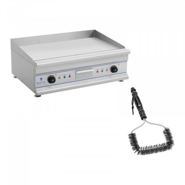 Set de plancha eléctrica fry-top doble con cepillo para parrilla - 75 cm - liso - 2 x 3.200 W