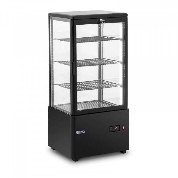 Vitrina refrigerada - 78 L - 4 niveles - negra - con cerradura