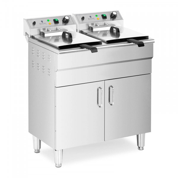Freidora eléctrica doble - 26 L - 10.000 W - grifo - zona fría - mueble bajo