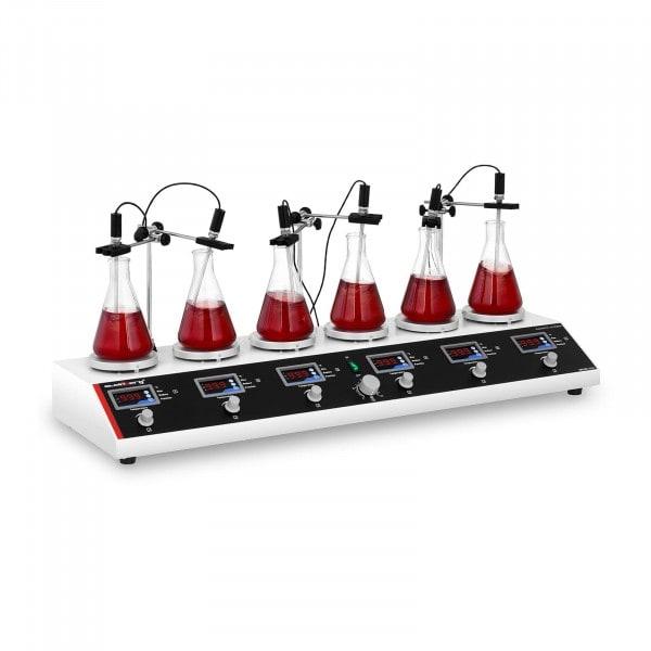 B-WARE Agitador magnético con placa calefactora de 6 puestos