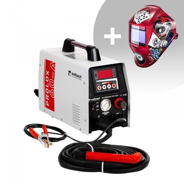 Set de soldadura Cortadora de plasma HF- 40 A - 230 V-digital + Careta de soldar – Pokerface – PROFESSIONAL SERIES