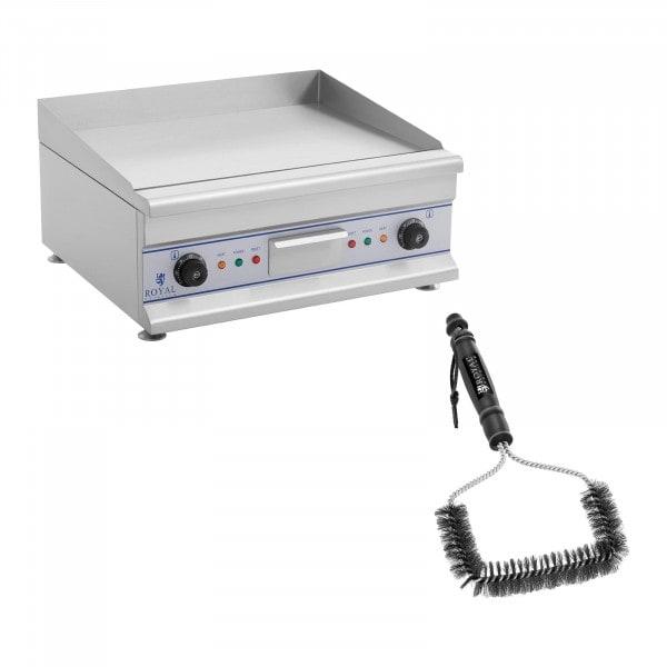 Set de fry top eléctrico doble con cepillo para parrilla - 60 cm - liso - 2 x 3.200 W