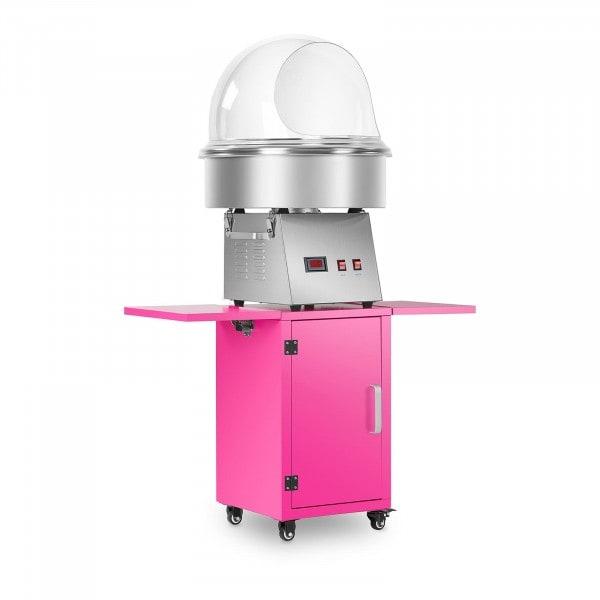 Máquina de algodón de azúcar con carro y cobertura antisalpicaduras - 52 cm - acero inoxidable / rosa