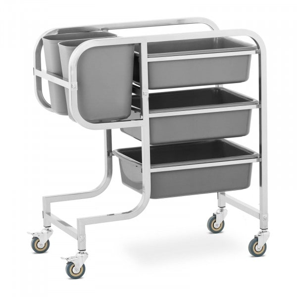 Carro de servicio - 3 cubas para platos - 2 cubos de basura - hasta 100 kg