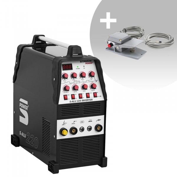Set de soldadura Soldador de aluminio - 200 A - 230 V - Pulso - 2/4 Tiempos + Pedal - S-ALU-220