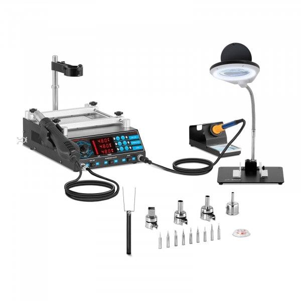 Set de estación de soldadura con placa calefactora y 2 soportes + accesorios