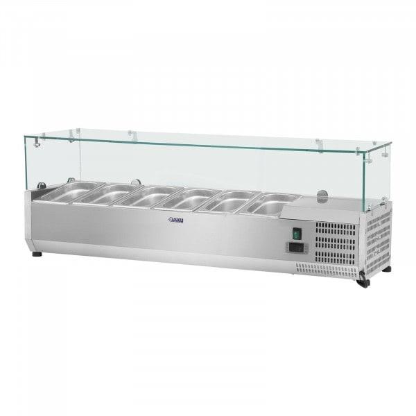 Vitrina refrigerada - 140 x 39 cm - 4 contenedores GN 1/3 - cubierta de cristal