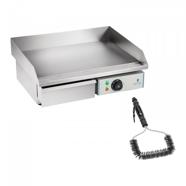 Set de plancha eléctrica fry-top doble con cepillo para parrilla - 55 cm - liso - 3.000 W