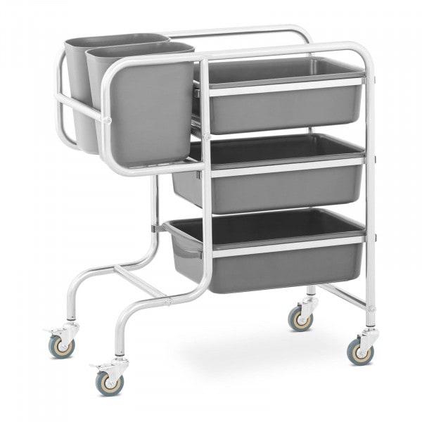 Carro de servicio - 3 cubas para platos - 2 cubos de basura - hasta 84 kg