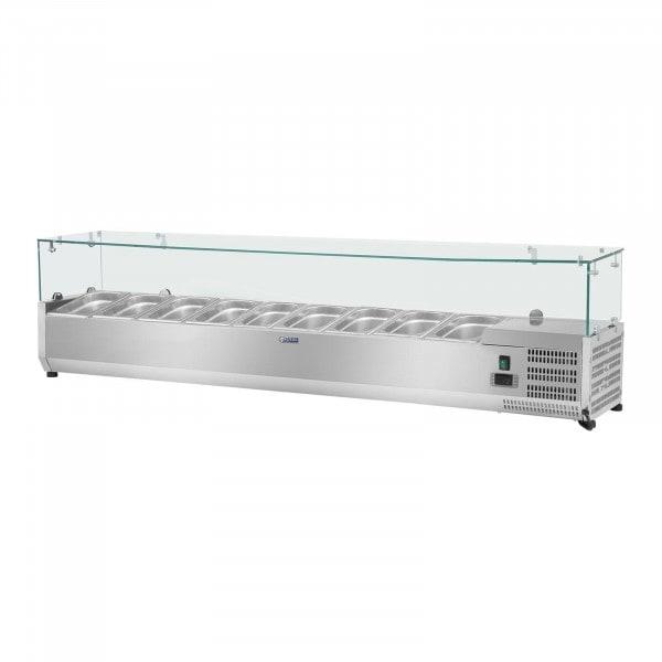 Vitrina refrigerada - 180 x 33 cm - 9 contenedores GN 1/4 - cubierta de cristal