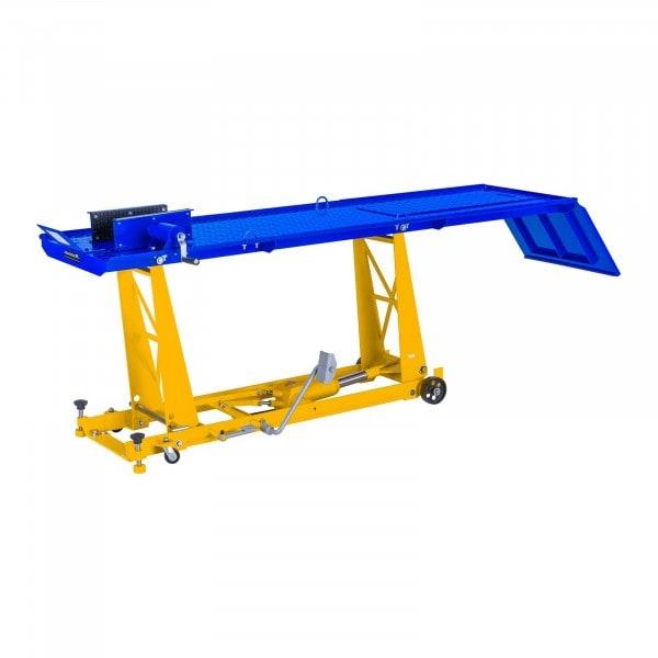 Elevador hidráulico para motos - 450 kg - 220 x 68 cm - rampa y sujeción rueda delantera