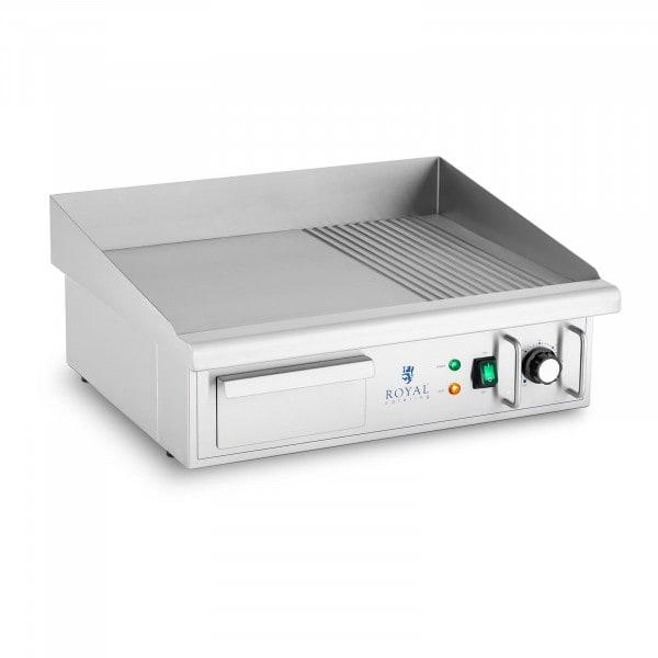 Plancha eléctrica fry-top - 360 x 560 mm - ondulada + lisa - 3.000 W