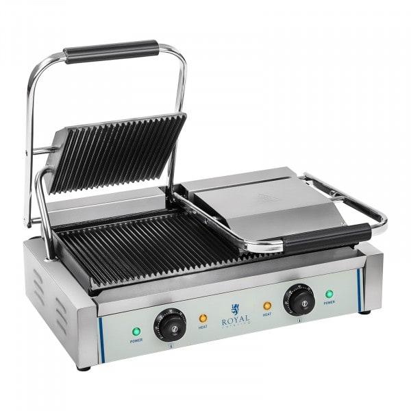 Plancha grill doble - ondulada - 2 x 1.800 W