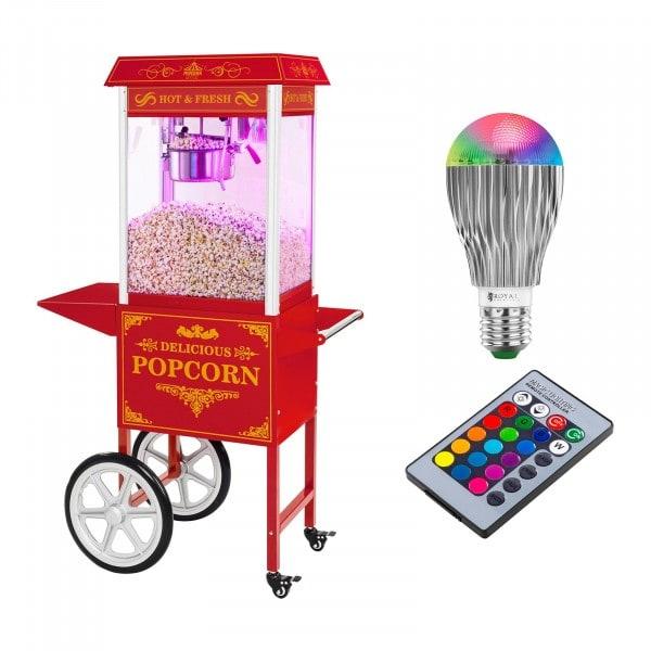 Palomitera con carrito e iluminación LED - diseño retro - rojo