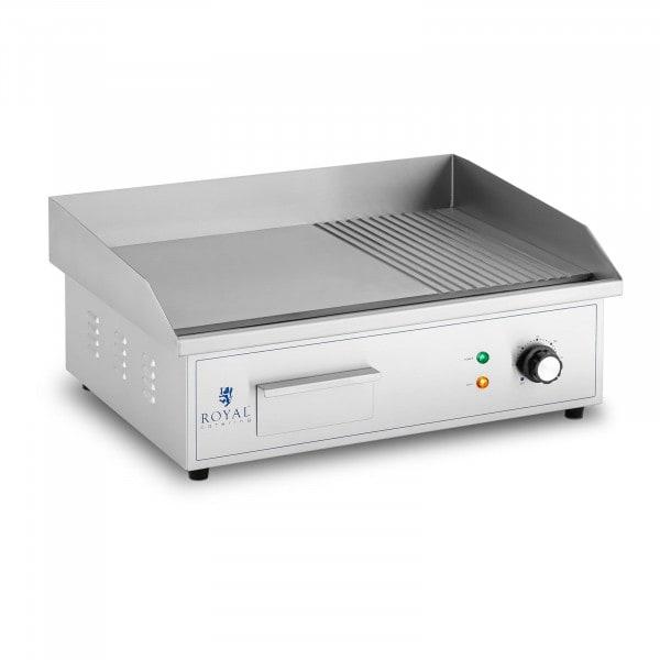 Plancha eléctrica fry-top - 548 x 350 mm - ondulada + lisa - 3.000 W